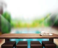 Le fond et la piscine en bois 3d de dessus de Tableau rendent Photographie stock libre de droits