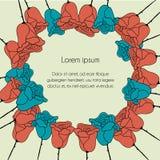 Le fond floral dans le style de griffonnage, carte postale a monté Photographie stock libre de droits
