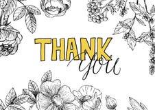 Le fond floral de vintage avec vous remercient inscription Photo stock
