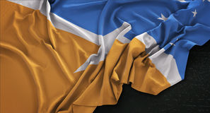 Le fond foncé 3D de Tierra del Fuego Flag Wrinkled On rendent Images libres de droits