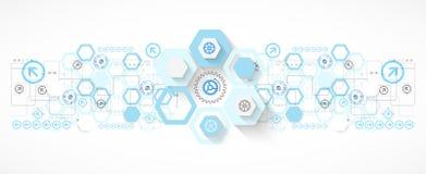 Le fond futuriste d'hexagone bleu abstrait pour la conception fonctionne illustration de vecteur