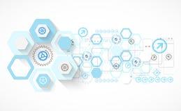 Le fond futuriste d'hexagone bleu abstrait pour la conception fonctionne illustration stock