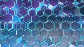 Le fond géométrique d'animation avec le bleu abstrait d'hexagones, l'animation disparaît sans couture illustration stock