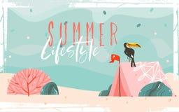 Le fond graphique tiré par la main de calibre d'illustrations d'heure d'été de bande dessinée d'abrégé sur vecteur avec la plage  illustration libre de droits