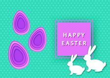 Le fond heureux de Pâques avec des oeufs a coupé du papier et du lapin illustration libre de droits