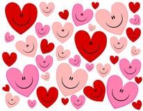 Le fond heureux de Valentine de coeurs de visage Image libre de droits