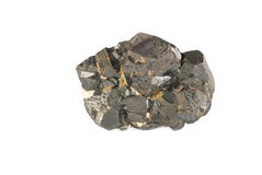 le fond a isolé le blanc minéral de magnétite Photographie stock