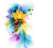 Le fond lumineux avec l'orchidée jaune fleurit sur les taches abstraites illustration stock