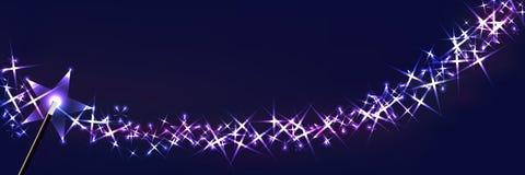 Le fond magique de baguette magique vers le haut de la bannière RVB illustration libre de droits
