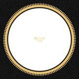 Le fond noir en cuir avec un boulon de foudre jaune en cercle et un fond blanc au centre avec de l'or filètent Photos stock