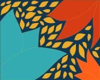 Le fond orange bleu avec des feuilles dirigent le vecteur de formes d'illustration illustration de vecteur