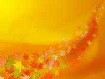 Le fond orange et jaune d'automne avec l'érable coloré part illustration stock