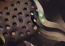 Le fond perforé et industriel de regard, la texture en métal, le Brown et la texture rouge, soustraient le modèle pulvérisé, lumi Photographie stock libre de droits