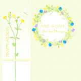 Le fond pour la conception, wildflowers, guirlande de fleur et bannière, font gagner la date Illustration de vecteur Photographie stock libre de droits