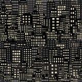 Le fond sans couture avec la nuit de bâtiment de ville allume la fenêtre, le noir et l'obscurité illustration libre de droits