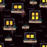 Le fond sans couture de modèle du mur avec des fenêtres s'allument dans le n illustration libre de droits