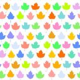 Le fond sans couture de vecteur avec l'érable d'automne part pour le textile de mode ou le fond de Web pourpre rose bleu jaune-or illustration stock