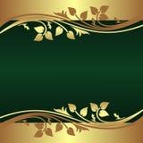 Le fond vert élégant a décoré la frontière d'or Photographie stock