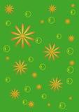 Le fond vert avec des fleurs et des bulles Photographie stock