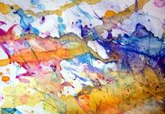 Le fond vert-bleu orange de points faibles, peinture cireuse boueuse de scintillement, contraste forme le fond dans des tonalités Photo libre de droits