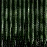 Le fond vert d'abrégé sur Matrix, programment le code binaire Photographie stock libre de droits
