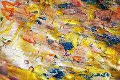 Le fond vif d'or, bleu a brouillé le fond abstrait cireux, fond vif d'aquarelle, texture image stock