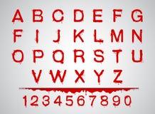 Le fonti del sangue hanno messo l'insieme del sangue dell'alfabeto Immagini Stock