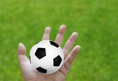 Le football à disposition avec l'herbe photographie stock libre de droits