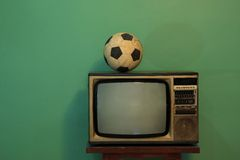 Le football à la TV Image libre de droits