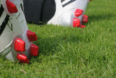 Le football amorce l'herbe Image stock