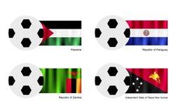 Le football avec la Palestine, le Paraguay, Zambie et le Papu Photos stock