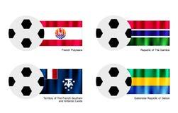 Le football avec la Polynésie française, Gambie, terres du sud françaises, drapeau du Gabon Images libres de droits
