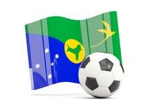 Le football avec le drapeau de ondulation de l'Île Christmas d'isolement sur le blanc Images stock