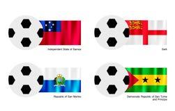 Le football avec le Samoa, le Sark, le Saint-Marin et le Sao Tomé Photographie stock libre de droits