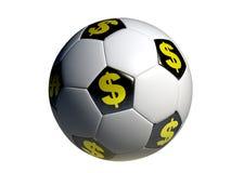 Le football avec le symbole du dollar photographie stock libre de droits