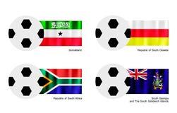 Le football avec Somaliland, l'Ossétie-du-Sud, Afr du sud Photos stock