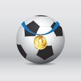 Le football/ballon de football avec la médaille d'or Vecteur Photo-realistic Photo stock