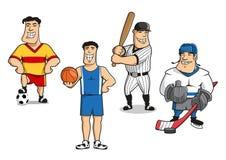 Le football, basket-ball, base-ball, joueurs de hockey Photo stock