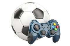 Le football, concept de jeu vidéo Ballon de football avec le gamepad, rende 3D Photographie stock libre de droits