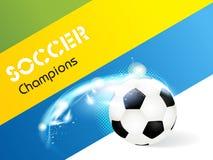 Le football créatif d'illustration dans le drapeau du Brésil concentré illustration stock