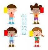 Le football d'enfants arbitre tenant la carte rouge et jaune, illustration de vecteur, sur le fond blanc illustration libre de droits