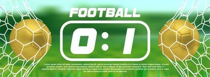 Le football d'or ou bannière d'or de vert du football avec la boule 3d et tableau indicateur sur le fond blanc But de match de je Photo stock
