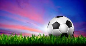 Le football dans l'herbe verte au-dessus d'un ciel crépusculaire Photo libre de droits