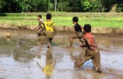 Le football dans la boue images stock
