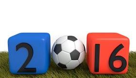 Le football dans les Frances 2016, cubes avec le football sur l'herbe Photo libre de droits