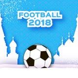 Le football 2018 dans le style de coupe de papier Championnat du monde d'origami sur le bleu Sport de tasse du football Architect illustration de vecteur