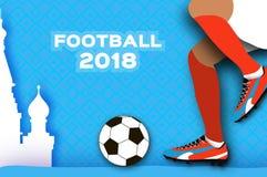 Le football 2018 dans le style de coupe de papier Championnat du monde d'origami sur le bleu Tasse du football Bottes du football Photographie stock