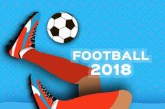 Le football 2018 dans le style de coupe de papier Championnat du monde d'origami sur le bleu Tasse du football Bottes du football Image libre de droits