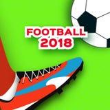 Le football 2018 dans le style de coupe de papier Championnat du monde d'origami sur le vert Tasse du football Bottes du football Images libres de droits