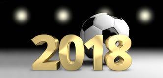 Le football 2018 de boule du football 3D rendent le football d'or Images libres de droits